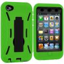 Apple iPod Touch 4th Generation Green / Black Hybrid Heavy Duty Hard/Soft Case Cover with Stand Angle 3