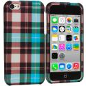 Apple iPhone 5C Blue Checker Hard Rubberized Design Case Cover Angle 1