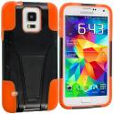 Samsung Galaxy S5 Black / Orange Hybrid Hard/Silicone Case Cover with Stand Angle 2