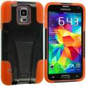Samsung Galaxy S5 Black / Orange Hybrid Hard/Silicone Case Cover with Stand Angle 3