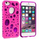 Apple iPhone 6 6S (4.7) Hot Pink / Purple Hybrid Bubble Hard/Soft Skin Case Cover Angle 1