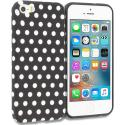 Apple iPhone 5 Black / White Polka Dot TPU Design Soft Rubber Case Cover Angle 1