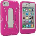 Apple iPhone 4 / 4S Hot Pink / White Hybrid Heavy Duty Hard/Soft Case Cover with Stand Angle 2