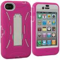 Apple iPhone 4 / 4S Hot Pink / White Hybrid Heavy Duty Hard/Soft Case Cover with Stand Angle 3
