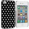 Apple iPhone 4 / 4S Polka Dot Hard Rubberized Back Cover Case Angle 1