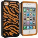 Apple iPhone 4 / 4S Orange / Black Hybrid Zebra Hard/Soft Case Cover Angle 1