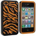 Apple iPhone 4 / 4S Orange / Black Hybrid Zebra Hard/Soft Case Cover Angle 2