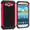 Samsung Galaxy S3 Hot Pink Hybrid Rugged Hard/Soft Case Cover Angle 1