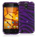 ZTE Force N9100 Black / Purple Zebra Bling Rhinestone Case Cover Angle 1