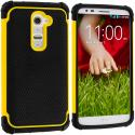 LG G2 Sprint, T-Mobile, At&t Black / Yellow Hybrid Rugged Hard/Soft Case Cover Angle 1