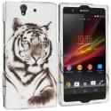 Sony Xperia Z Tiger 2D Hard Rubberized Design Case Cover Angle 1