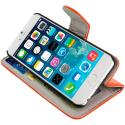 Apple iPhone 6 6S (4.7) Orange Leather Wallet Pouch Case Cover with Slots Angle 6