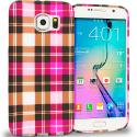 Samsung Galaxy S6 Hot Pink Checkered TPU Design Soft Rubber Case Cover Angle 1