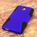 HTC One Mini- BLUE / BLACK MPERO FUSION M - Protective Case Cover Angle 3