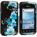 Samsung Rugby Smart i847 Blue Flowers Design Crystal Hard Case Cover Angle 1