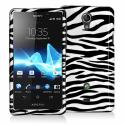 Sony Xperia TL Black / White Zebra Design Crystal Hard Case Cover Angle 1