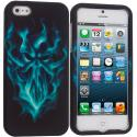 Apple iPhone 5/5S/SE Blue Skull Face Hard Rubberized Design Case Cover Angle 1