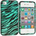 Apple iPhone 4 / 4S Black/Baby Blue Zebra2D Hard Rubberized Design Case Cover Angle 1