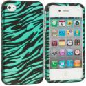 Apple iPhone 4 Black/Baby Blue Zebra2D Hard Rubberized Design Case Cover Angle 1