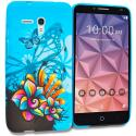 Alcatel OneTouch Fierce XL Blue Butterfly Flower TPU Design Soft Rubber Case Cover Angle 1