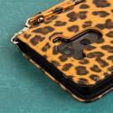 LG G3 - Studded Leopard MPERO FLEX FLIP Wallet Case Cover Angle 7