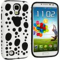 Samsung Galaxy S4 White / Black Hybrid Bubble Hard/Soft Skin Case Cover Angle 1