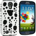 Samsung Galaxy S4 White / Black Hybrid Bubble Hard/Soft Skin Case Cover Angle 2
