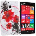 Nokia Lumia 929 Icon Red Flower TPU Design Soft Case Cover Angle 1