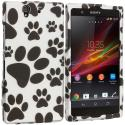 Sony Xperia Z Dog Paw 2D Hard Rubberized Design Case Cover Angle 1