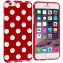Apple iPhone 6 Plus 6S Plus (5.5) Red / White TPU Polka Dot Skin Case Cover Angle 1