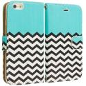 Apple iPhone 5C Mint Green Zebra Leather Wallet Pouch Case Cover with Slots Angle 2