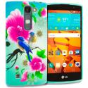 LG Volt 2 LS751 Blue Bird Pink Flower TPU Design Soft Rubber Case Cover Angle 1