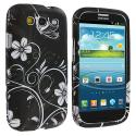 Samsung Galaxy S3 White Butterfly on Black Hard Rubberized Design Case Cover Angle 1