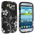 Samsung Galaxy S3 White Butterfly on Black Hard Rubberized Design Case Cover Angle 2