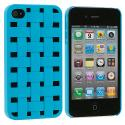 Apple iPhone 4 / 4S Baby Blue Weave Hard Rubberized Back Cover Case Angle 1