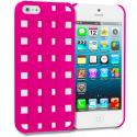 Apple iPhone 5/5S/SE Hot Pink Handwoven Hard Rubberized Back Cover Case Angle 1