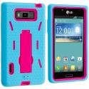 LG Splendor US730 Baby Blue / Hot Pink Hybrid Heavy Duty Hard/Soft Case Cover with Stand Angle 2