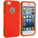 Apple iPhone 5/5S/SE Orange / Orange Hybrid Mesh Hard/Soft Case Cover Angle 1