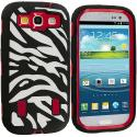 Samsung Galaxy S3 Black / Red Zebra Hybrid Zebra 3-Piece Case Cover Angle 1