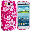 Samsung Galaxy S3 Pink Hawaii Flower TPU Design Soft Case Cover Angle 1