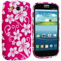 Samsung Galaxy S3 Pink Hawaii Flower TPU Design Soft Case Cover Angle 2