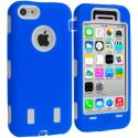 Apple iPhone 5C Blue / White Hybrid Deluxe Hard/Soft Case Cover Angle 1