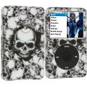 Apple iPod Classic Black White Skulls Hard Rubberized Design Case Cover Angle 1