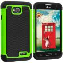 LG Optimus L70 Exceed 2 Realm LS620 Black / Neon Green Hybrid Rugged Hard/Soft Case Cover Angle 1