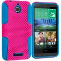 HTC Desire 510 512 Baby Blue / Hot Pink Hybrid Mesh Hard/Soft Case Cover Angle 1