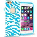 Apple iPhone 6 White / Baby Blue Hybrid Zebra Hard/Soft Case Cover Angle 1