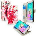 Samsung Galaxy S6 Spring Flower Leather Wallet Pouch Case Cover with Slots Angle 1