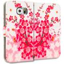 Samsung Galaxy S6 Spring Flower Leather Wallet Pouch Case Cover with Slots Angle 2