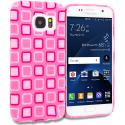 Samsung Galaxy S7 Pink Squares TPU Design Soft Rubber Case Cover Angle 1