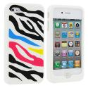 Apple iPhone 4 / 4S Colorful Zebra Silicone Design Soft Skin Case Cover Angle 1